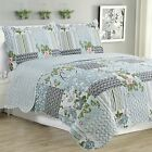 Kim - 3 Piece Quilt bedspread Set queen and king size - Silver Bird Floral image