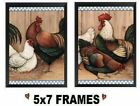💗 5x7 Chicken Pictures Checked Blue Border Roosters Hen Farm Wall Hangings