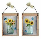 Sunflower Pictures Yellow Flowers Mason Jars Butterflies Wall Hangings Plaques