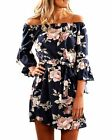 SVALIY Women Off Shoulder Ruffles Floral Tunic Casual Party Shift Short Dress