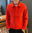 Men's Long Sleeve Single Breasted Jacket Flax Style Coat Casual Tunic Tops JY02
