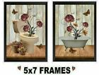 💗 5X7 Bathroom Pictures Pink Roses Flowers Tub & Toilet Floral Wall Hangings