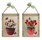 Red Pink Rose Pictures Flowers Potted Plants Vases Floral Wall Hangings Plaques