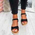 WOMENS LADIES ANKLE STRAP WEDGE PLATFORM SANDALS SUMMER WOMEN SHOES SIZE