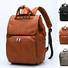Faux Leather Frame Trapeze Baby Diaper Bag Changing Bag Backpack Handles Travel