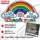 * 20% TO NHS CHARITY * Thank You NHS Rainbow Sticker COVID virus Shop Window Car