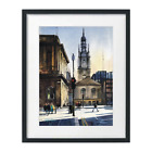 Nelson Mandela Place Glasgow Watercolor Painting Print Cityscape Sarfraz Musawir