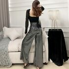 Women Wide Leg Pants Casual Loose Long Flare Trousers Office Lady Elastic High
