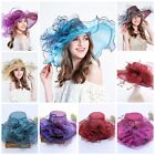Womens Black Kentucky Derby Church Hat Dress Fascinator Bridal Organza Tea Party