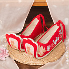 Retro Women Beads Hanfu Embroidered Shoes Cosplay Dance Pumps Ballet Flats zx00