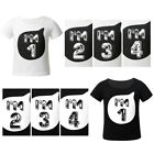 Kids Boys Girls Short Sleeves Cotton T-Shirt Top for Birthday Party Casual Cloth