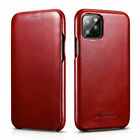 100% Genuine Real Leather ICARER Flip Cover Case For iPhone 11 Pro Xs Max 7 8+