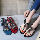 Womens Rhinestone Beach Sandals Clip Toe Thong Slingback Bohemia Shoes zx01