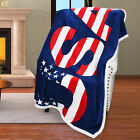 Sherpa Fleece Blanket National Flag Print Patriotic Plush Reversible Polar Throw