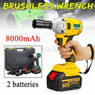 Cordless Impact Wrench 1/2'' 460N.m Electric Torque Drill Brushless US+2XBattery