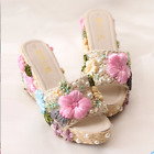 Women Pearls Embroidery Flower Slippers Wedge High Heel Platform Backless zx00