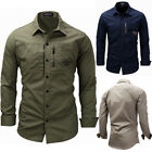 New Mens Long Sleeve Casual Shirts Army Military Multi-Pocket Tactical Sport Top