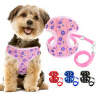 Small Dog Harness & Leash Set Adjustable Mesh Puppy Vest with Daisies Pattern