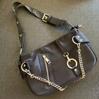 Chain Detail Nylon Shoulder Bag Pouch Slouch bag Hobo Baguette Small Purse