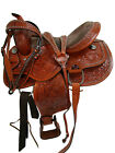 FULLY FLORAL FLOWERS TOOLED CARVED LEATHER WESTERN HORSE SADDLE BARREL SHOW TACK