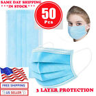 50 Pcs Face Mask Mouth & Nose Protector Respirator Masks  Filter  /BLUE <br/> SAME DAY SHIPPING FROM NEW JERSEY AS LOW AS $0.29/ PC