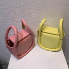 Mini Real Leather Double Handles Wonton-Shape Bucket Bag Tote Shoulder Bag Small