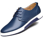 Mens Street Style Casual Leather Shoes in Blue