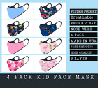 4 PACK KIDS Face Mask ORGANIC COTTON Fabric 3-Fly Washable AGES 3 TO 12