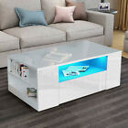 LED Wooden Coffee Table With Storage 2 Drawers Living Room Furniture High Gloss