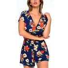 Womens Summer Casual Short Sleeve Floral Playsuit Jumpsuit Romper Holiday Wear