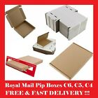 ROYAL MAIL PIP LARGE LETTER CARDBOARD POSTAL MAILING BOXES WHITE/BROWN C4 C5 C6