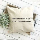 12x12 Wholesale Blank 10 oz. Cotton Canvas Throw Pillow Cover - Lot of 20 Blanks