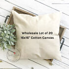 16x16 Wholesale Blank 10 oz. Cotton Canvas Throw Pillow Cover - Lot of 20 Blanks