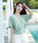 Fashion Women V Neck Ruched Plain Summer Short Sleeve Loose T Shirt Blouses Tops