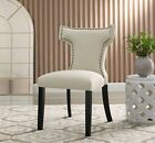 Retro Modern Upholstered Fabric Armless Dining Chair with Nailhead Trim Wingback