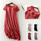 Soft Stretch Built In Bra Wireless Patio Shirt Dress Nightgown Lounge Sleepwear