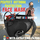 Black Face Mask with Reusable Carbon Filter Exhaust Valves