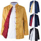 Two Sided Traditional Chinese Clothes Men Tang Suit Top Silk Print Jacket Coat