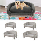 Handmade Wicker Kennel Raised Pet Cat Dog Sofa Couch Cushion Mat Blanket Bed