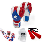 Puerto Rico Pride LEATHER Boxing Gloves with PR Hand Wraps, Laundry Bag & Glove