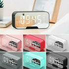 New Digital Alarm Clock FM Radio Wireless Mirror LED Clocks W/ Speaker More Size