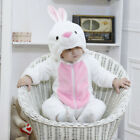 Baby White Rabbit Bunny Costume Kigurumi Rompers Infant Toddler Jumpsuit Flannel