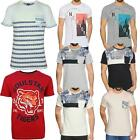 Mens Short Sleeve T Shirt Printed Summer Beach Round Neck Tee Shirts Cotton Top