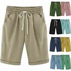 Womens Solid Beach Bermuda Capri Shorts Loose Casual Summer Crop Pants Trousers