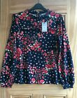 OASIS 2020 SEASON NEW Navy Blue Red Poppy Floral Frill Top Size 6 - 14 RRP=32