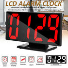 Large LCD Screen LED Digital Alarm Clock Snooze Temperature Thermometer Display