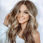 Women's Ladies Curly Ombre Blonde Wavy Hair Cosplay Party Long Natural Full Wig