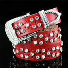 Genuine Leather Bling Crystal Diamond Waist Strap Hollow Design Waistbands Shiny