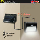 Solar Powered LED PIR Motion Sensor Wall Security Light Garden Outdoor w/ wires