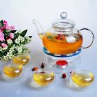 Glass Tea Pot Set Teapot with Tealight Warmer and 6 Tea Cups double walled glass